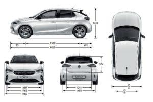 Opel Corsa 2020 rozměry